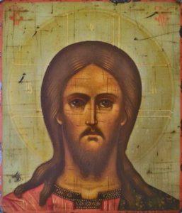 Рукописная икона Спасителя