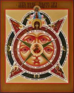 Всевидящее око. Рукописная икона.