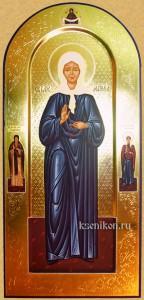 Матрона Московская. Мерная икона на арочной доске резьбой.