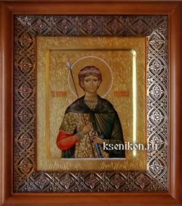 Димитрий Солунский. Икона в киоте. Резьба по золоту.