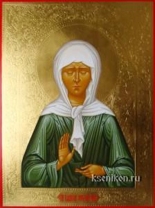 Матрона Московская. Икона с резьбой по золоту.