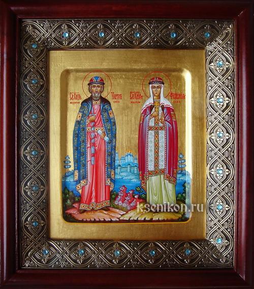 Икона вышитая бисером святой петр и февронья- фотография 1