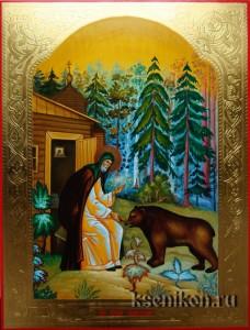 Сергий Радонежский. Именная икона с резьбой по золоту.