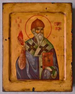 Спиридон Тримифунтский. Рукописная икона.